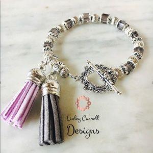 Jewelry - Austrian Crystal Bracelet w/ Suede Tassels
